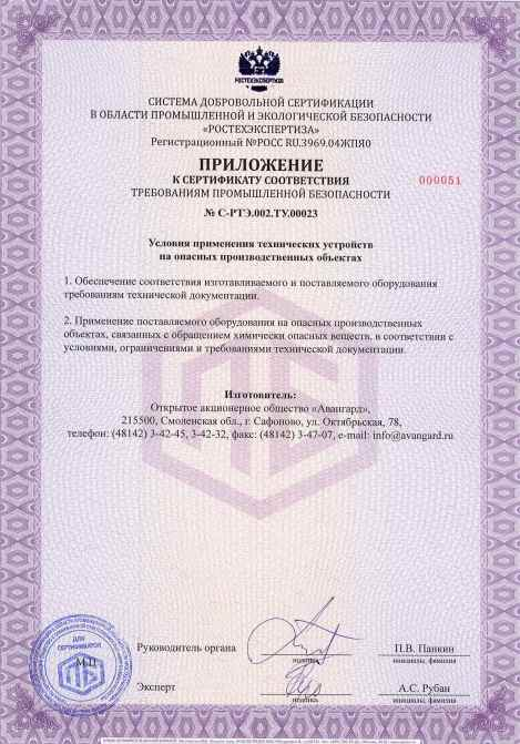 Certificate of compliance with industrial safety standarts